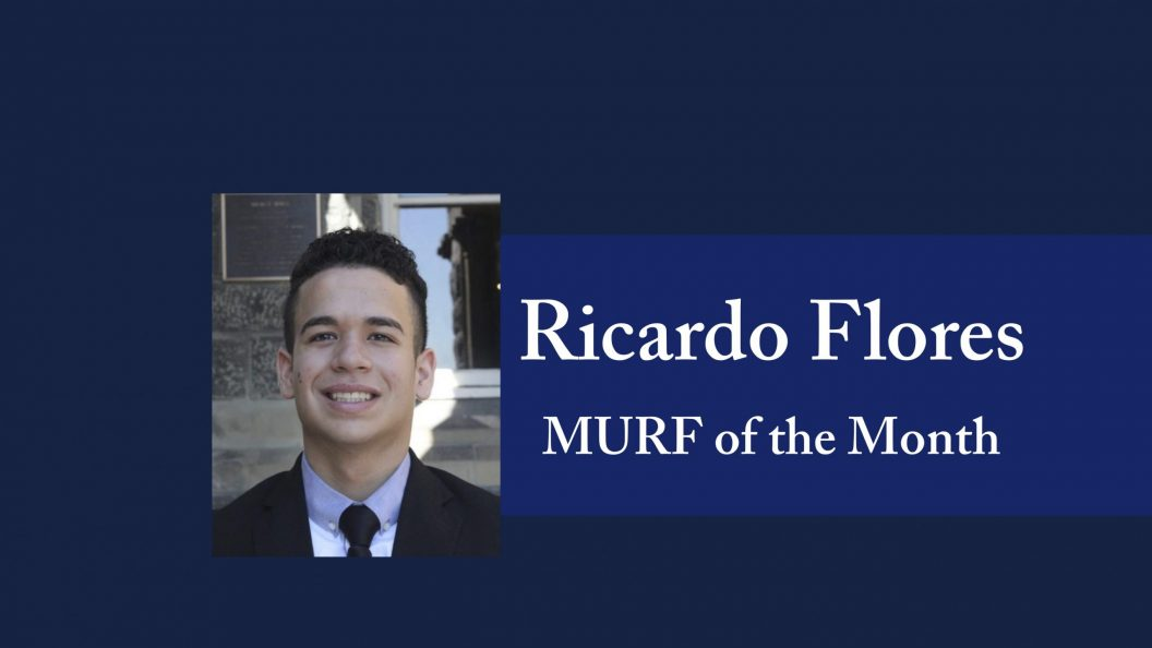 picture of MURF of the Month Ricardo Flores with blue background and text that reads Ricardo Flores MURF of the Month with Mortara logo at bottom